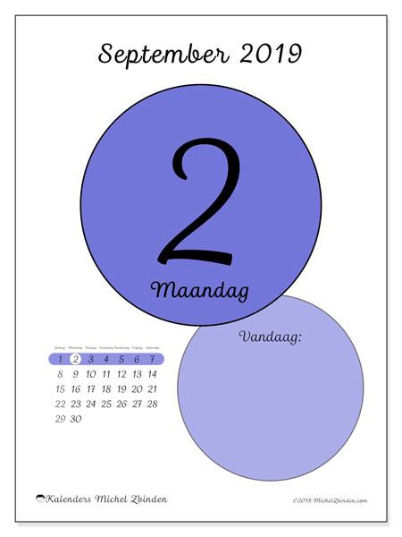 Kalender september 2019, 45-2ZZ. Dagelijkse kalender om gratis te printen.