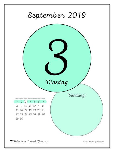 Kalender september 2019, 45-3ZZ. Dagelijkse kalender om gratis te printen.