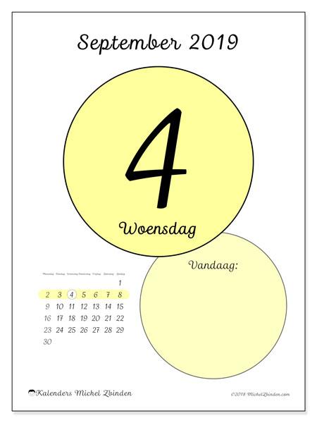 Kalender september 2019, 45-4MZ. Dagelijkse kalender om gratis te printen.