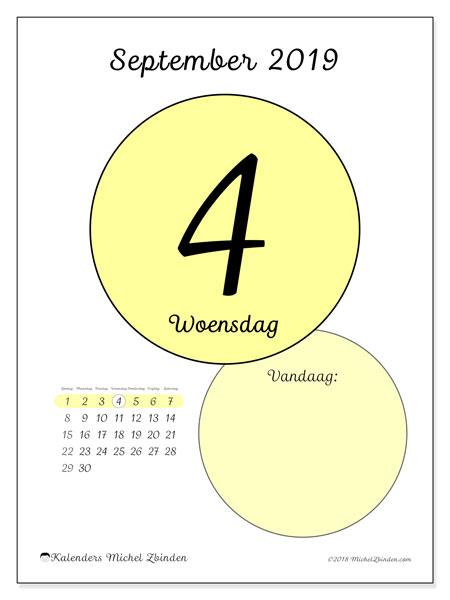 Kalender september 2019, 45-4ZZ. Kalender voor de dag om gratis te printen.