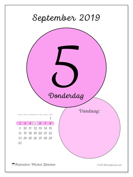 Kalender september 2019, 45-5MZ. Dagelijkse kalender om gratis te printen.