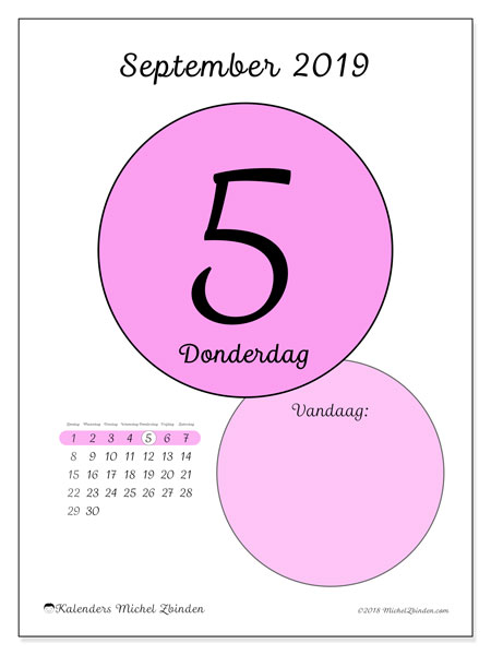 Kalender september 2019, 45-5ZZ. Dagelijkse kalender om gratis te printen.