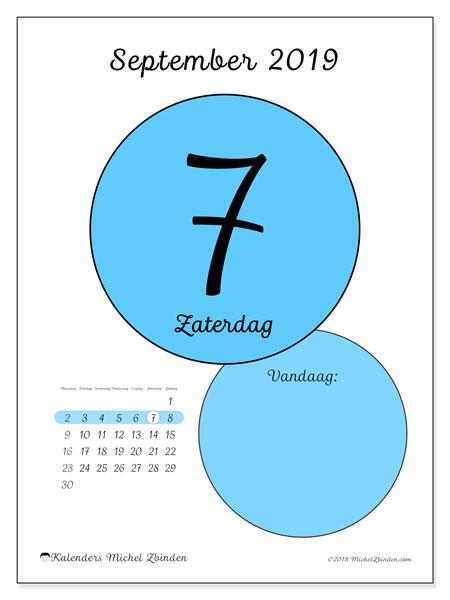 Kalender september 2019, 45-7MZ. Dagelijkse kalender om gratis te printen.