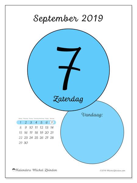 Kalender september 2019, 45-7ZZ. Dagelijkse kalender om gratis te printen.