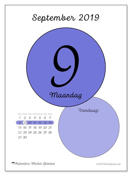 Kalender september 2019, 45-9ZZ. Dagelijkse kalender om gratis te printen.