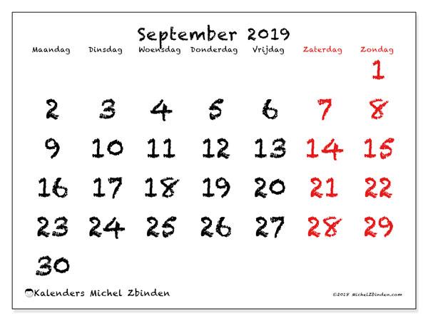 Kalender september 2019, 46MZ. Kalender voor de maand die gratis moet worden afgedrukt.