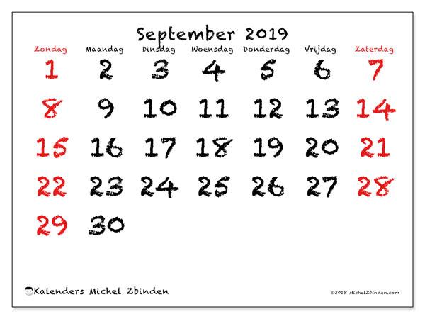 Kalender september 2019, 46ZZ. Agenda om gratis te printen.