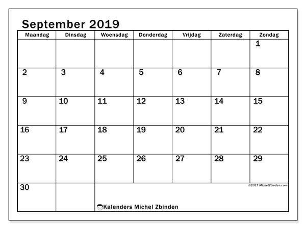 Kalender september 2019, 50MZ. Maandkalender om gratis te printen.