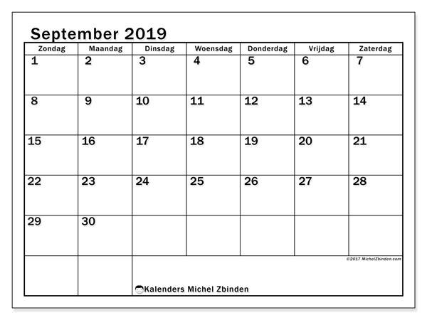 Kalender september 2019, 50ZZ. Agenda om gratis te printen.