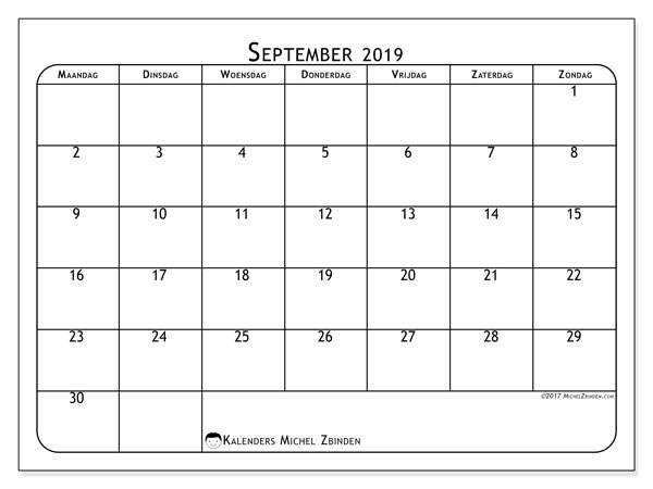 Kalender september 2019, 51MZ. Gratis printbare kalender.