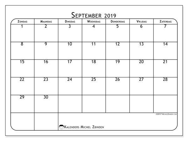 Kalender september 2019, 51ZZ. Maandkalender om gratis te printen.