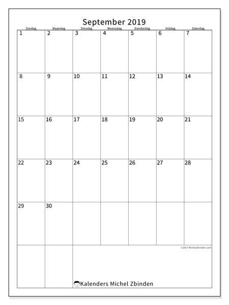 Kalender september 2019, 52ZZ. Agenda om gratis te printen.