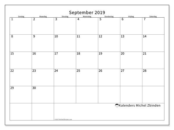 Kalender september 2019, 53ZZ. Kalender om gratis af te drukken.