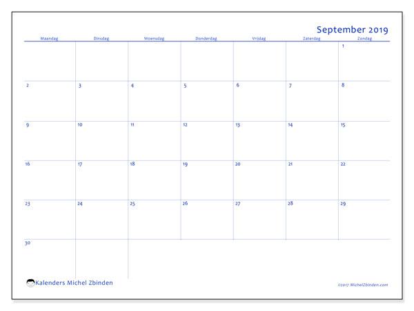 Kalender september 2019, 55MZ. Agenda om gratis te printen.