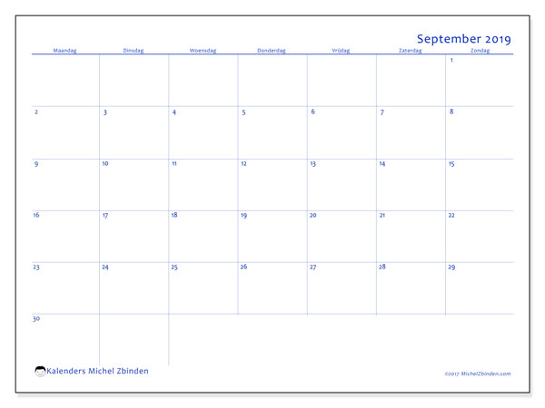 Kalender september 2019, 55MZ. Schema om gratis te printen.