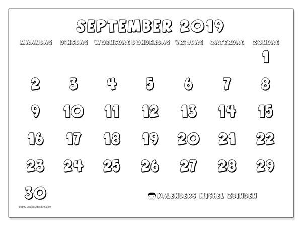 Kalender september 2019, 56MZ. Maandkalender om gratis te printen.