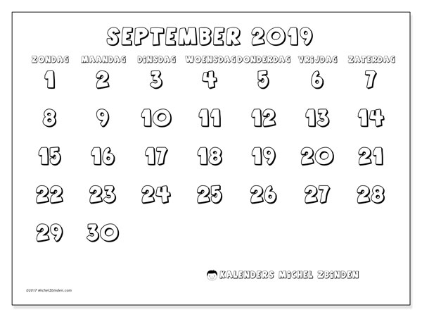 Kalender september 2019, 56ZZ. Gratis printbare kalender.