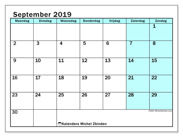 Kalender september 2019, 59MZ. Kalender voor de maand die gratis moet worden afgedrukt.