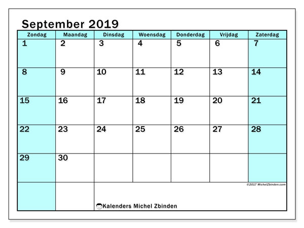 Kalender september 2019, 59ZZ. Gratis printbare kalender.