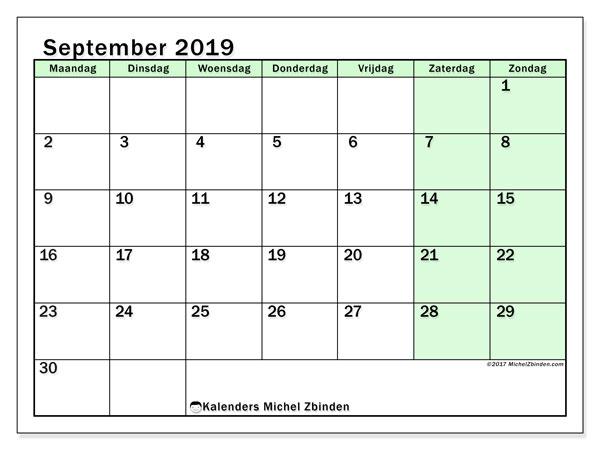 Kalender september 2019, 60MZ. Agenda om gratis te printen.