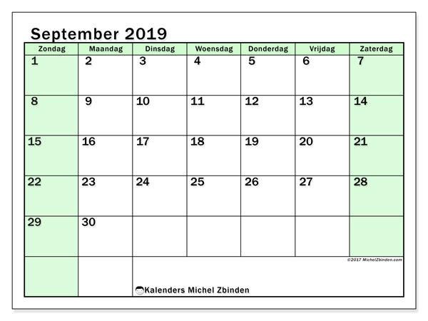 Kalender september 2019, 60ZZ. Agenda om gratis te printen.