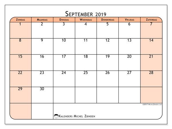 Kalender september 2019, 61ZZ. Maandkalender om gratis te printen.