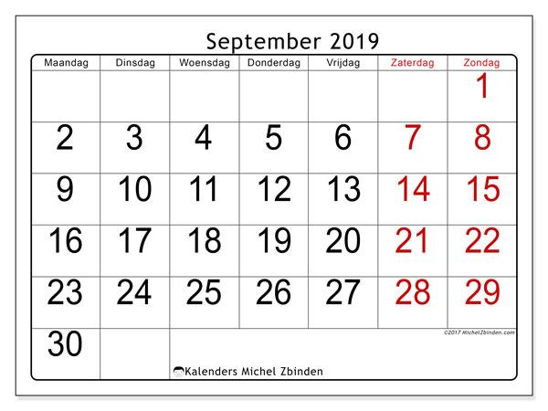 Kalender september 2019, 62MZ. Agenda om gratis te printen.