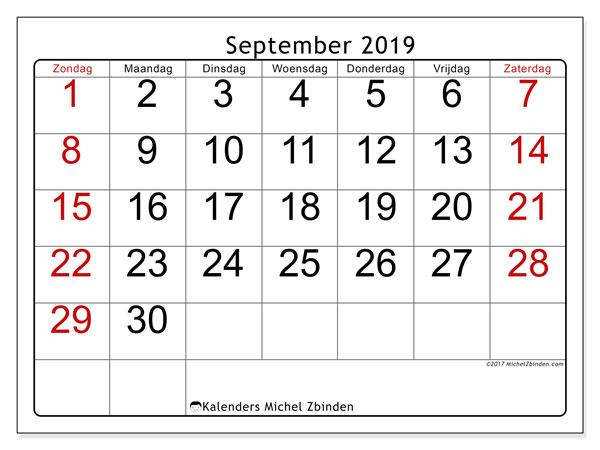 Kalender september 2019, 62ZZ. Kalender om gratis af te drukken.
