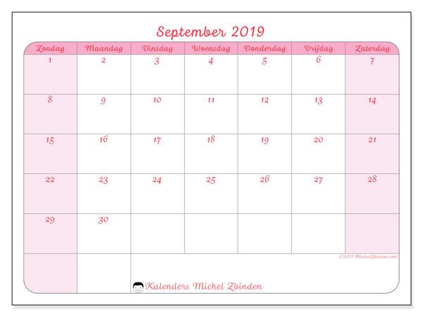 Kalender september 2019, 63ZZ. Kalender voor de maand die gratis moet worden afgedrukt.