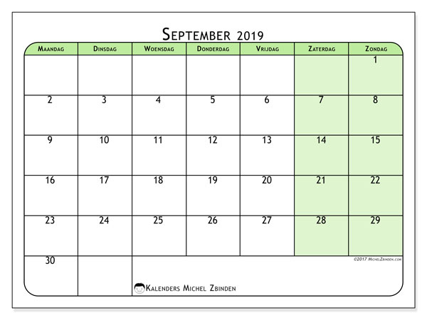 Kalender september 2019, 65MZ. Kalender voor de maand die gratis moet worden afgedrukt.