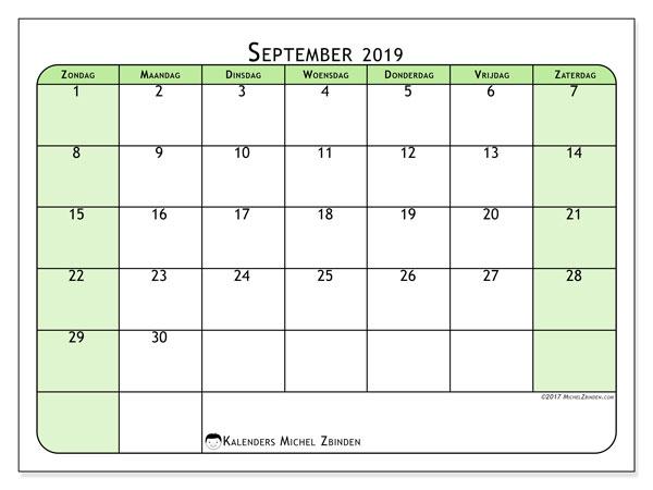 Kalender september 2019, 65ZZ. Agenda om gratis te printen.