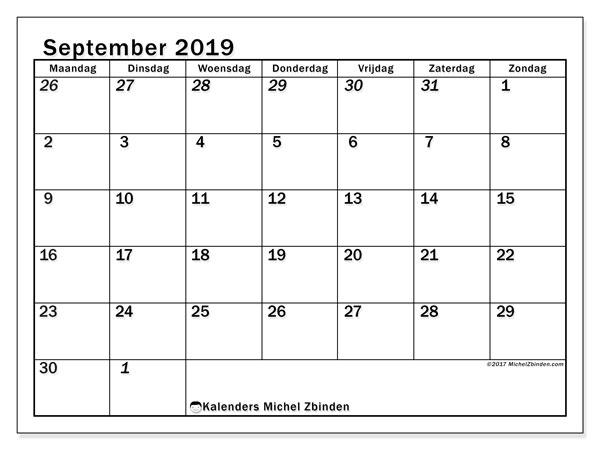 Kalender  september 2019, 66MZ
