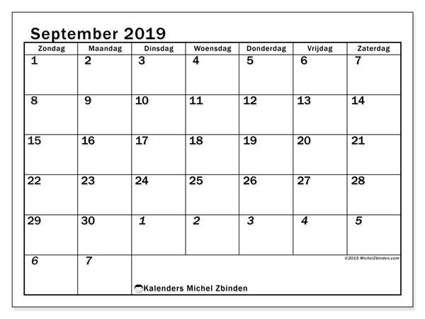 Kalender september 2019, 66ZZ. Maandkalender om gratis te printen.