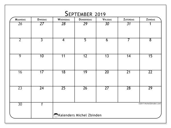 Kalender september 2019, 67MZ. Gratis kalender om af te drukken.