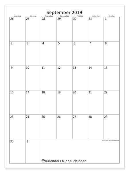 Kalender september 2019, 68MZ. Gratis printbare kalender.