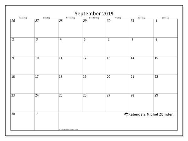 Kalender  september 2019, 70MZ