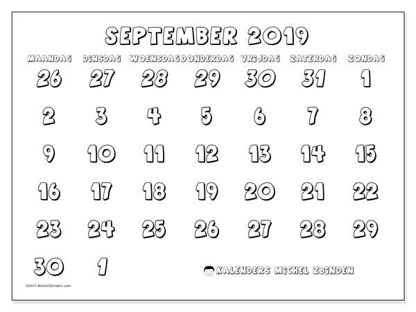 Kalender september 2019, 71MZ. Kalender voor de maand die gratis moet worden afgedrukt.