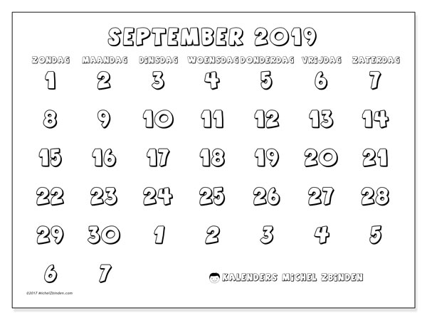 Kalender september 2019, 71ZZ. Gratis printbare kalender.