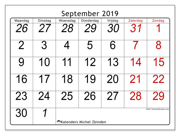 Kalender september 2019, 72MZ. Gratis printbare kalender.