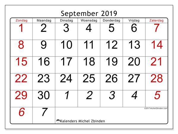 Kalender september 2019, 72ZZ. Kalender voor de maand die gratis moet worden afgedrukt.