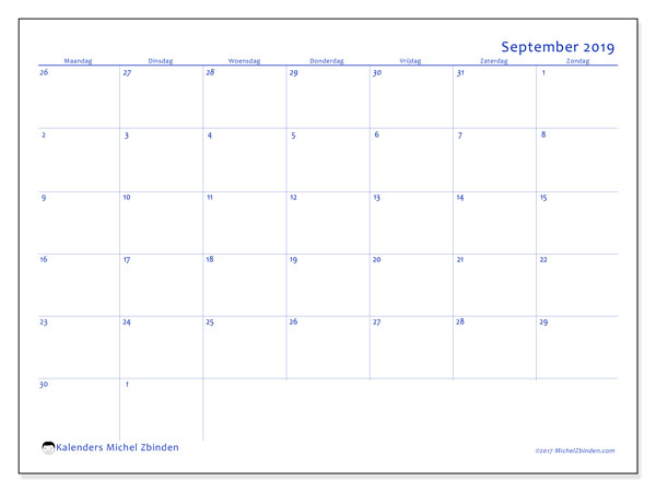 Kalender september 2019, 73MZ. Gratis kalender om af te drukken.