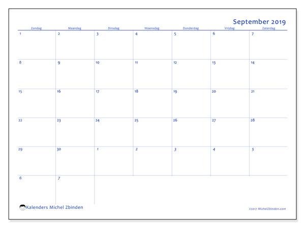 Kalender september 2019, 73ZZ. Gratis printbare kalender.