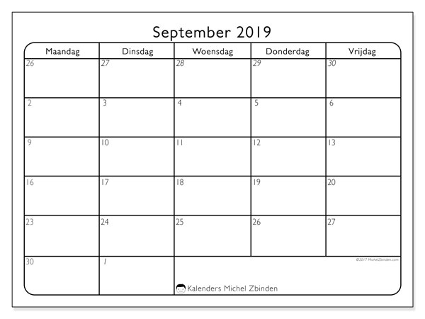 Kalender september 2019, 74MZ. Kalender om gratis te printen.