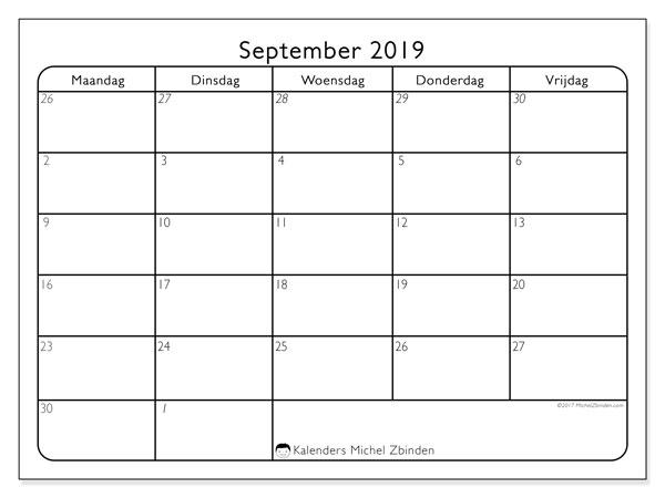 Kalender september 2019, 74ZZ. Kalender voor de maand die gratis moet worden afgedrukt.