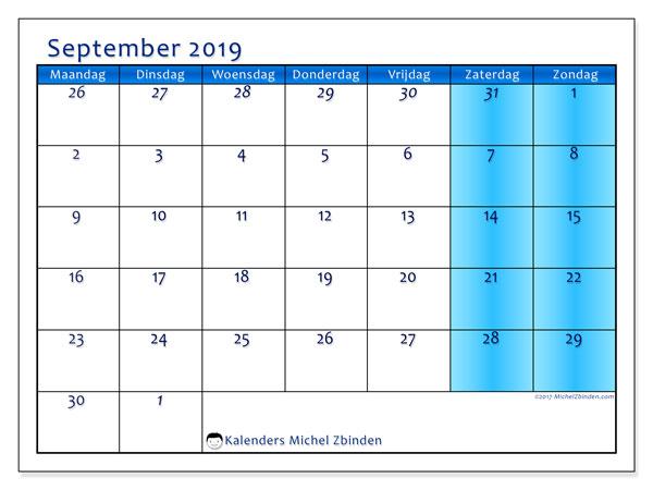 Kalender september 2019, 75MZ. Kalender voor de maand die gratis moet worden afgedrukt.