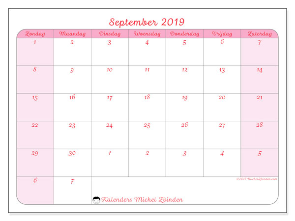 Kalender september 2019, 76ZZ. Gratis kalender om af te drukken.