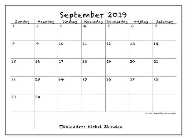 Kalender september 2019, 77ZZ. Gratis kalender om af te drukken.