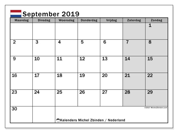 Kalender september 2019, met feestdagen in Nederland. Kalender om gratis te printen met feestdagen.