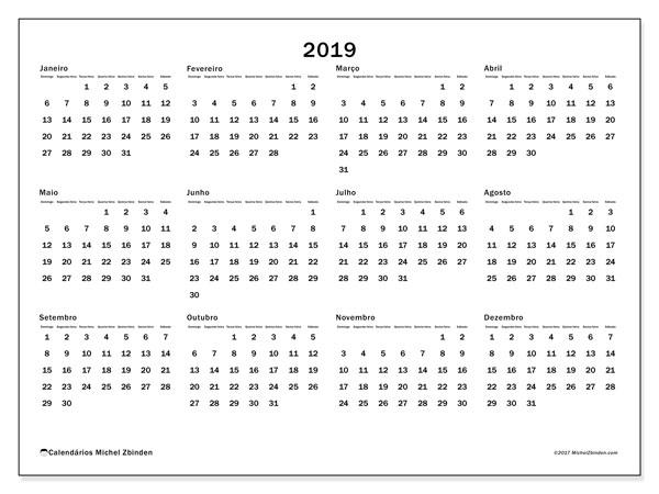 Calendário de  de 2019 (32DS). Calendário para imprimir gratuitamente.