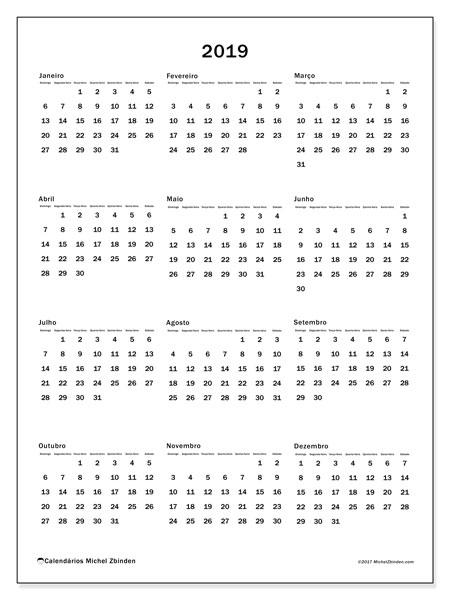Calendário 2019, 33DS. Calendário para imprimir gratuitamente.